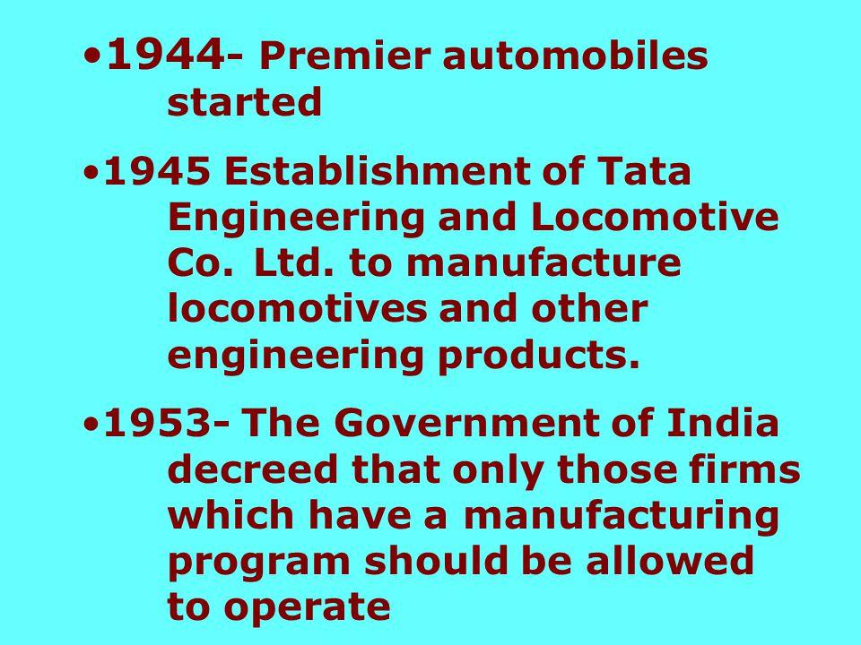 1942 - Hindustan Motors incorporated
