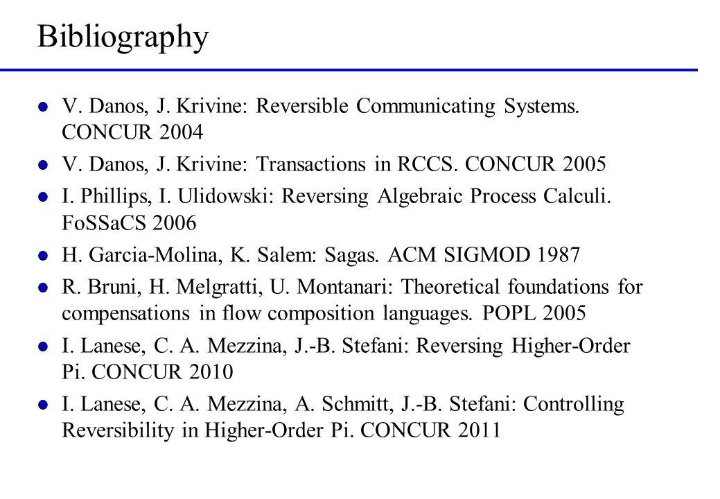 Bibliography l V. Danos, J. Krivine: Reversible Communicating Systems. CONCUR 2004 l V. Danos, J. Krivine: Transactions in RCCS. CONCUR 2005 l I. Phil