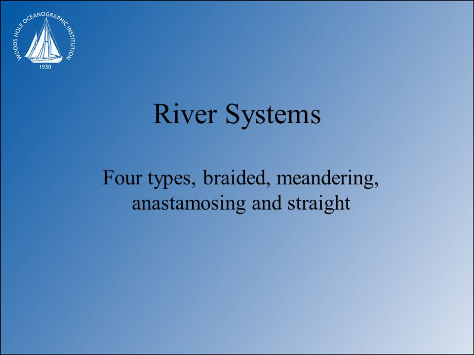 River Systems Four types, braided, meandering, anastamosing and straight