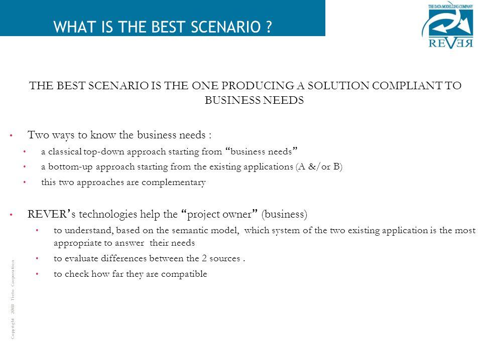 Copyright 2008 Tieto Corporation WHAT IS THE BEST SCENARIO .