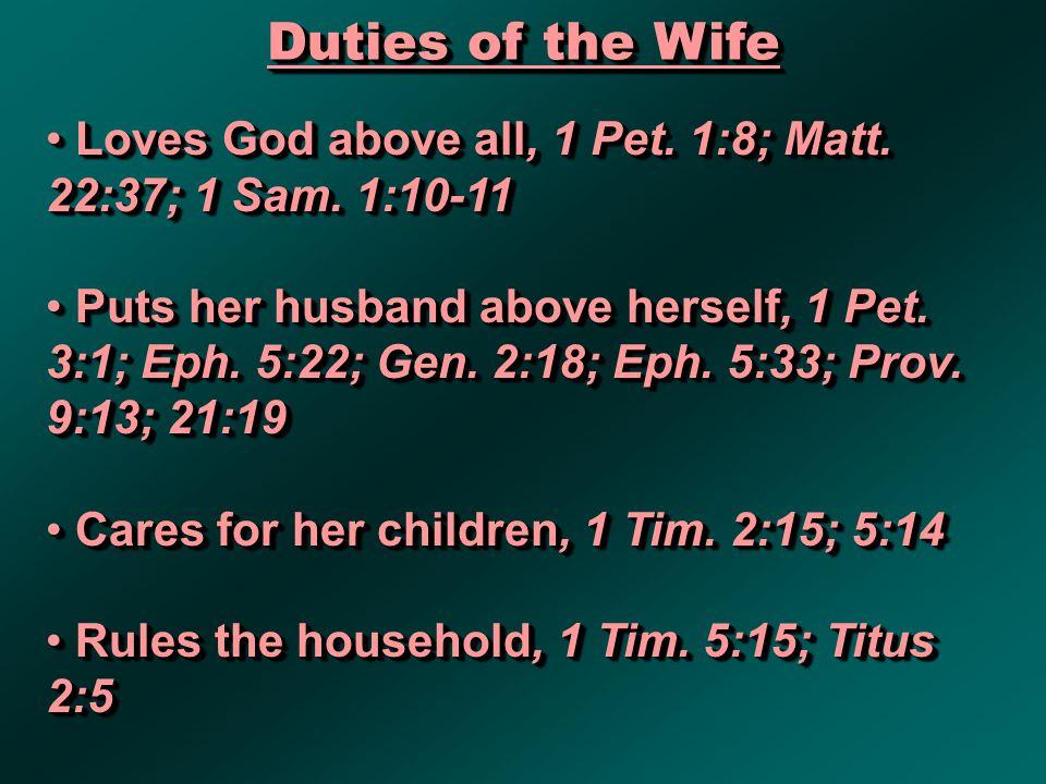 Duties of the Wife Loves God above all, 1 Pet. 1:8; Matt.