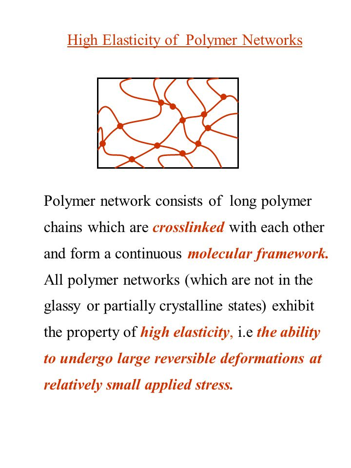 Polymer network consists of long polymer chains which are crosslinked with each other and form a continuous molecular framework.
