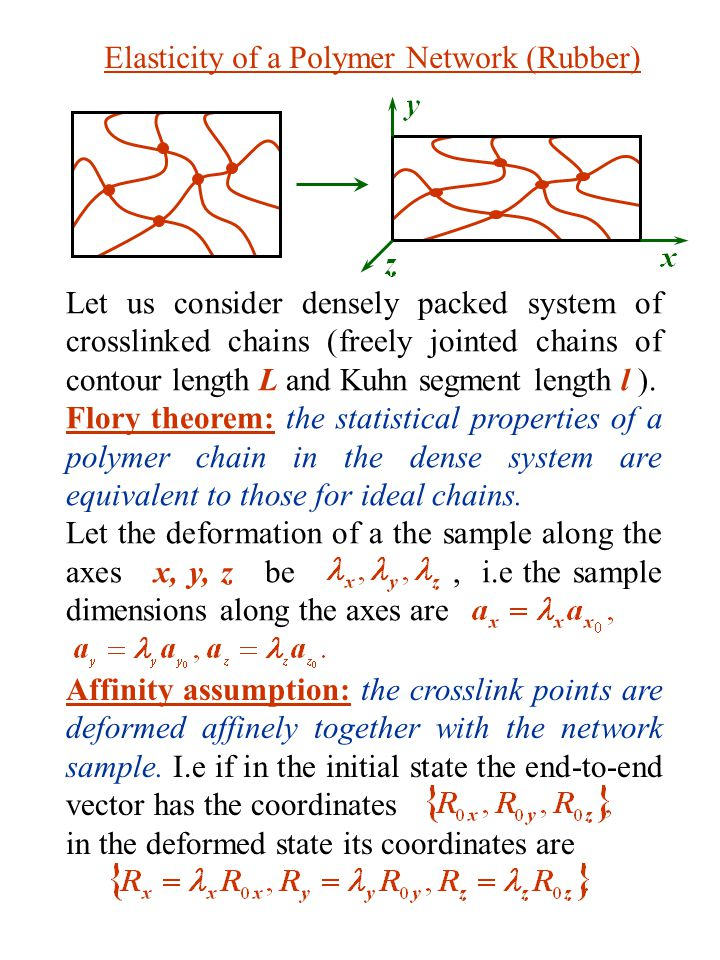Thus, the change of the free energy of the chain between two crosslink points upon extension is For the whole sample where is the number of chains per unit volume and V is the volume of the sample.