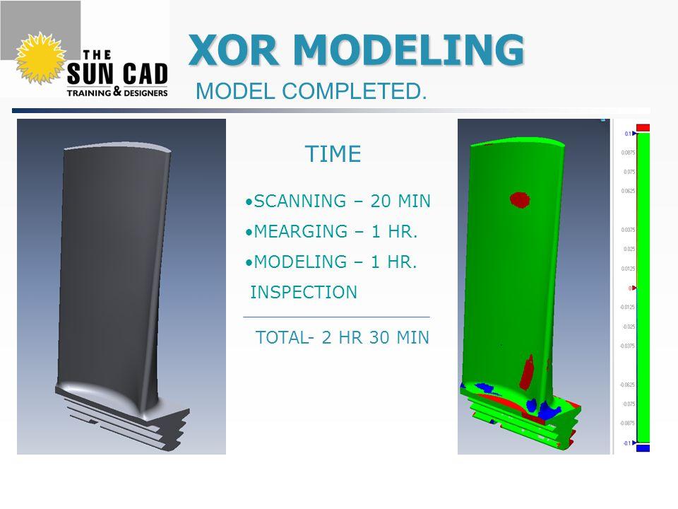 XOR MODELING XOR MODELING MODEL COMPLETED. SCANNING – 20 MIN MEARGING – 1 HR. MODELING – 1 HR. INSPECTION TIME TOTAL- 2 HR 30 MIN