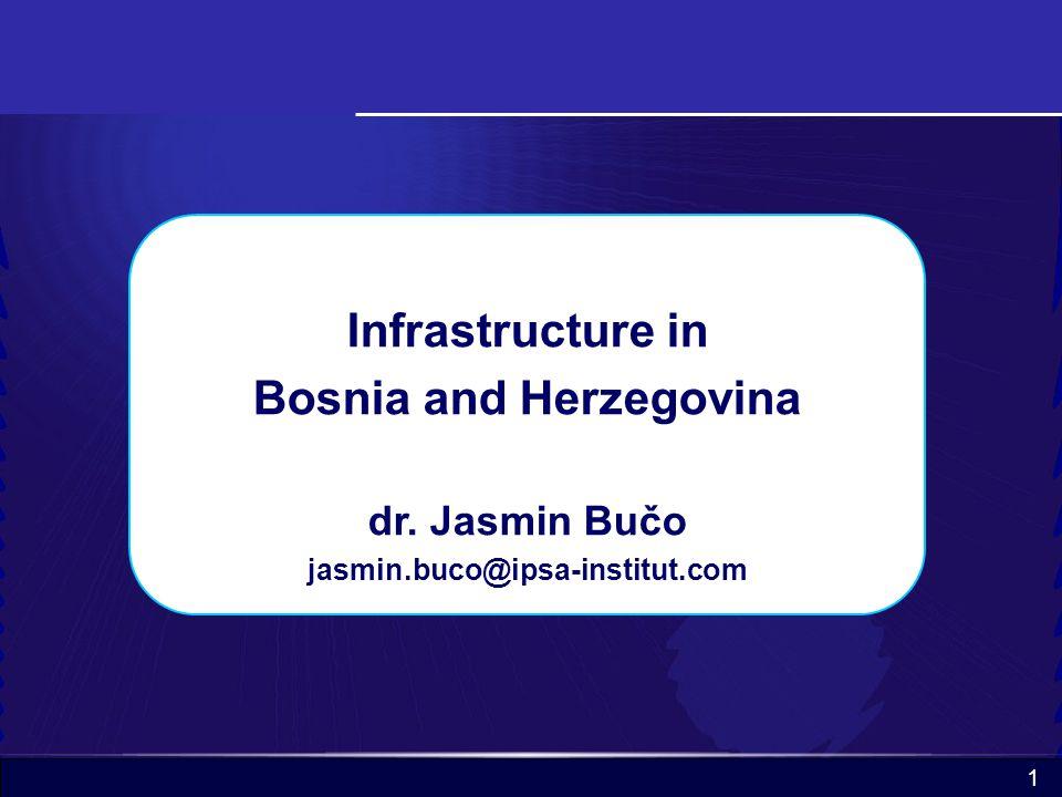 1 Infrastructure in Bosnia and Herzegovina dr. Jasmin Bučo jasmin.buco@ipsa-institut.com