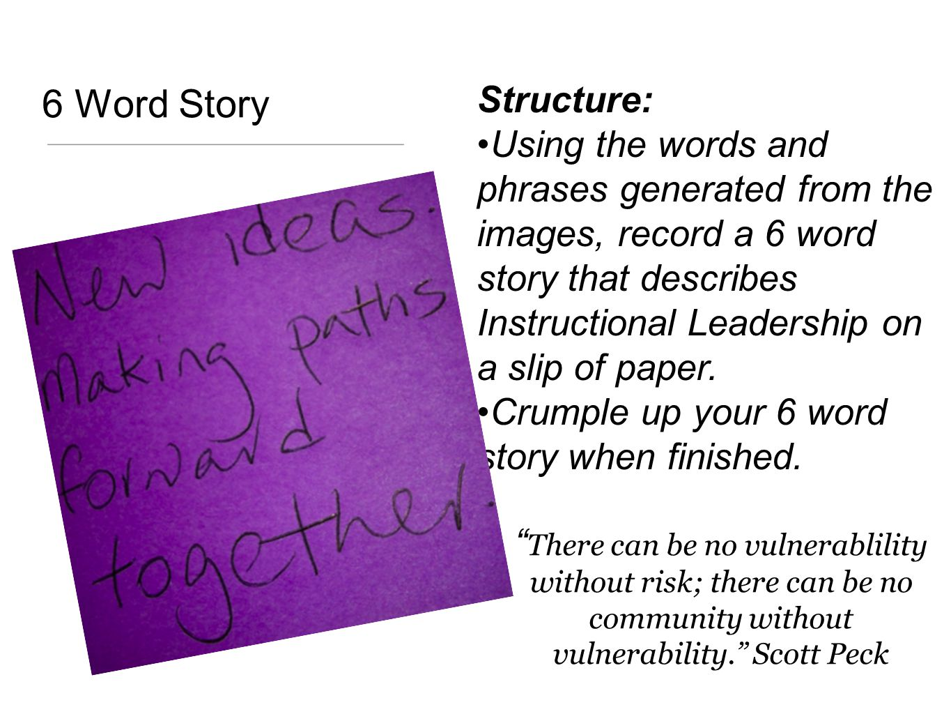 6 Word Story Structure: Using the words and phrases generated from the images, record a 6 word story that describes Instructional Leadership on a slip of paper.