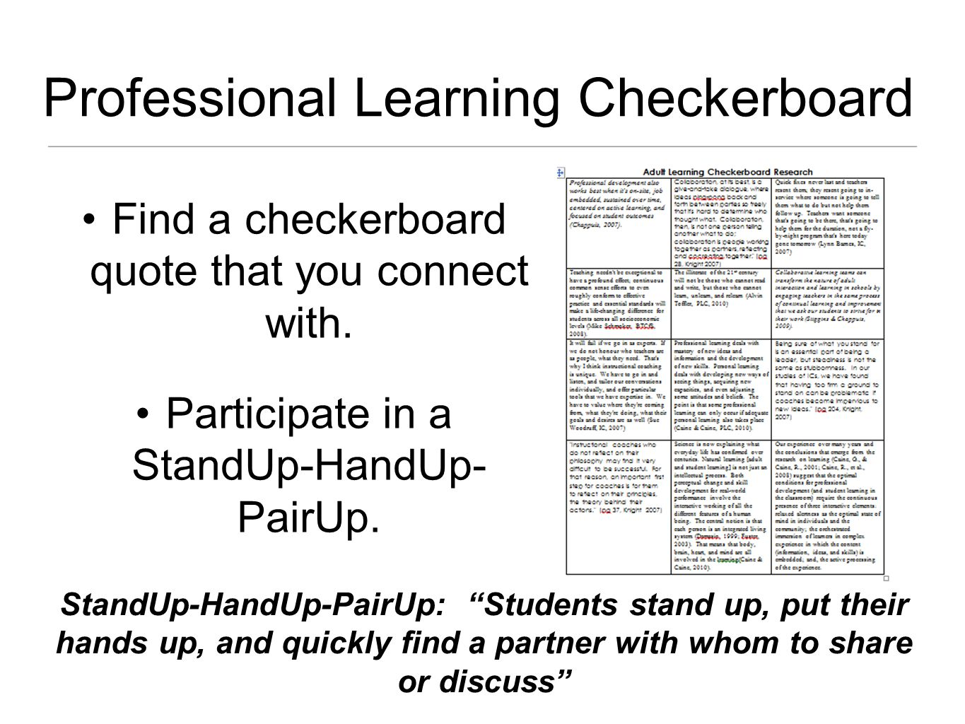 Find a checkerboard quote that you connect with. Participate in a StandUp-HandUp- PairUp.