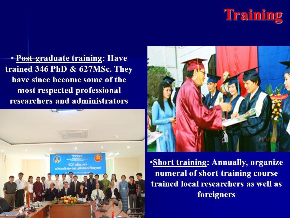 Post-graduate training: Have trained 346 PhD & 627MSc.