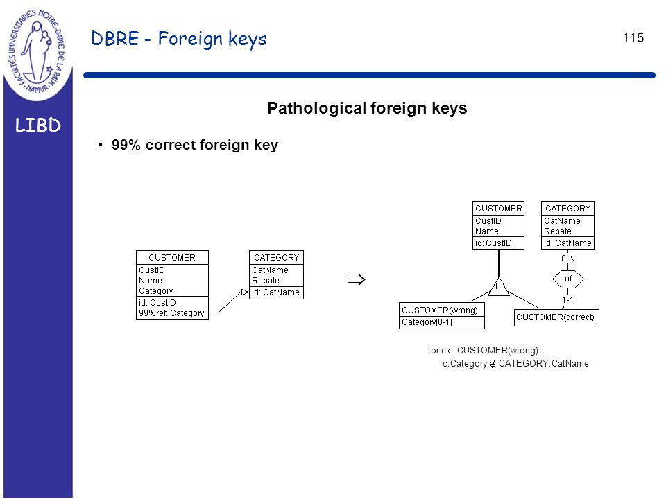 LIBD 115 DBRE - Foreign keys Pathological foreign keys 99% correct foreign key  for c  CUSTOMER(wrong): c.Category  CATEGORY.CatName