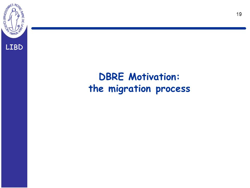 LIBD 19 DBRE Motivation: the migration process