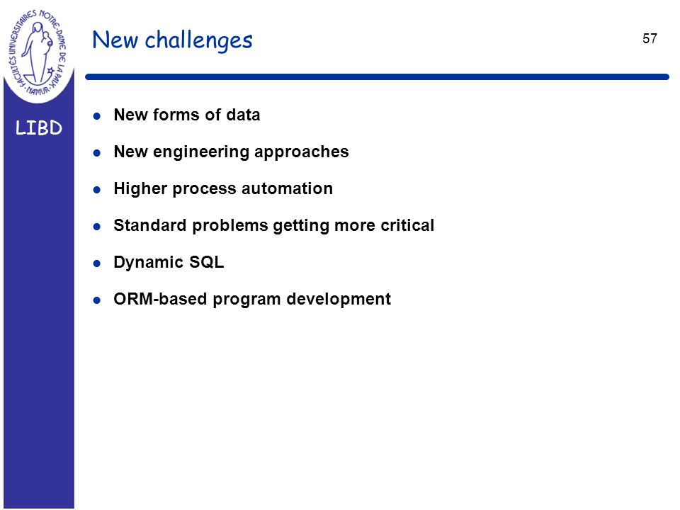 LIBD 57 New challenges New forms of data New engineering approaches Higher process automation Standard problems getting more critical Dynamic SQL ORM-based program development