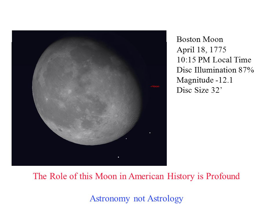 Boston Moon April 18, 1775 10:15 PM Local Time Disc Illumination 87% Magnitude -12.1 Disc Size 32' The Role of this Moon in American History is Profou