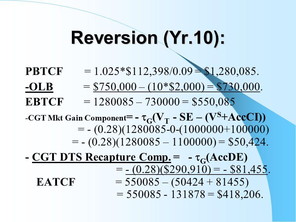 Reversion (Yr.10): PBTCF= 1.025*$112,398/0.09 = $1,280,085.