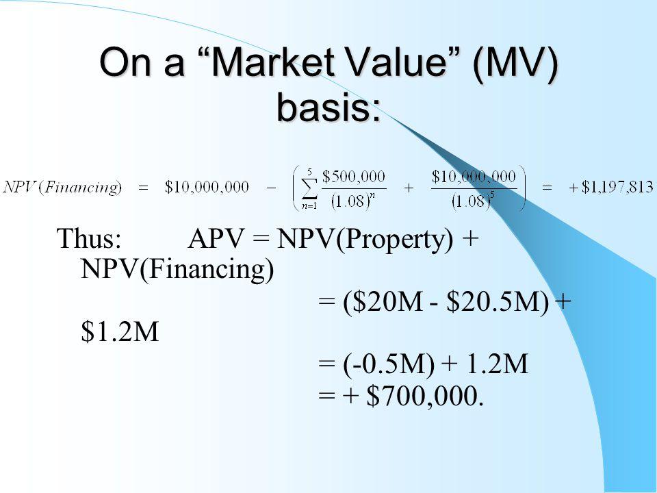 On a Market Value (MV) basis: Thus: APV= NPV(Property) + NPV(Financing) = ($20M - $20.5M) + $1.2M = (-0.5M) + 1.2M = + $700,000.