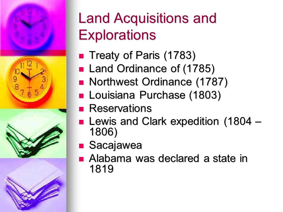 Land Acquisitions and Explorations Treaty of Paris (1783) Treaty of Paris (1783) Land Ordinance of (1785) Land Ordinance of (1785) Northwest Ordinance