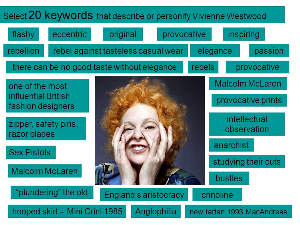 Select 20 keywords that describe or personify Vivienne Westwood flashyeccentricoriginal provocative rebellion provocativeinspiring there can be no goo