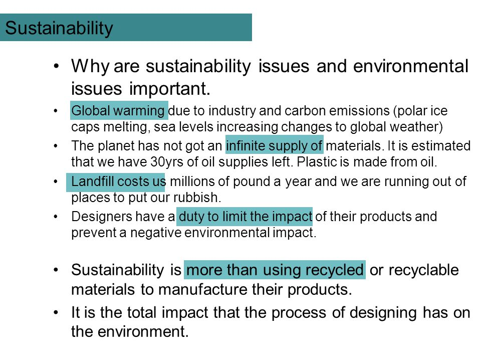 Why are sustainability issues and environmental issues important.