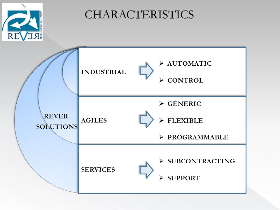 CHARACTERISTICS INDUSTRIAL  AUTOMATIC  CONTROL REVER SOLUTIONS AGILES  GENERIC  FLEXIBLE  PROGRAMMABLE SERVICES  SUBCONTRACTING  SUPPORT