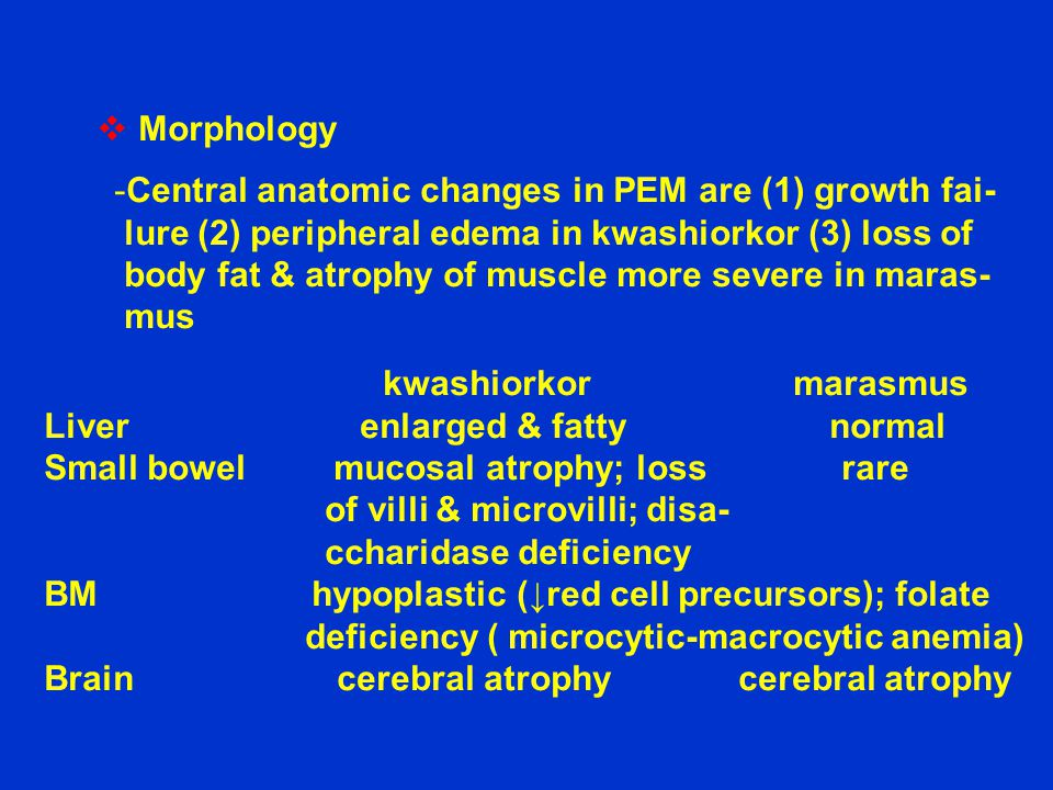  Morphology -Central anatomic changes in PEM are (1) growth fai- lure (2) peripheral edema in kwashiorkor (3) loss of body fat & atrophy of muscle mo