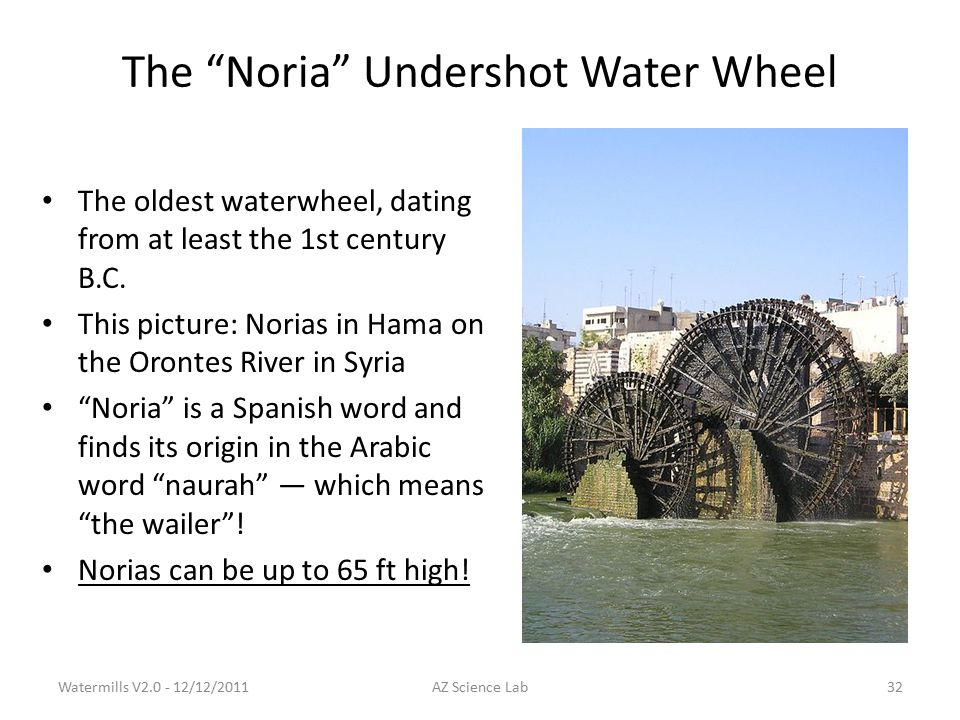 The Noria Undershot Water Wheel The oldest waterwheel, dating from at least the 1st century B.C.