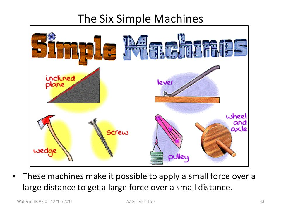 The Six Simple Machines These machines make it possible to apply a small force over a large distance to get a large force over a small distance.