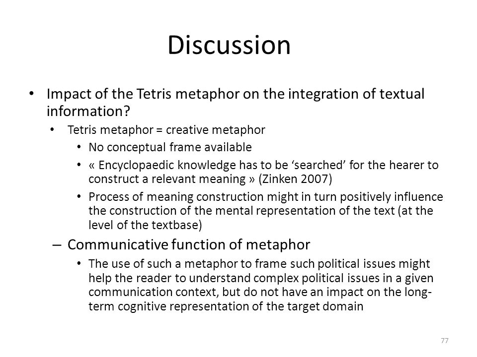 Discussion Impact of the Tetris metaphor on the integration of textual information.