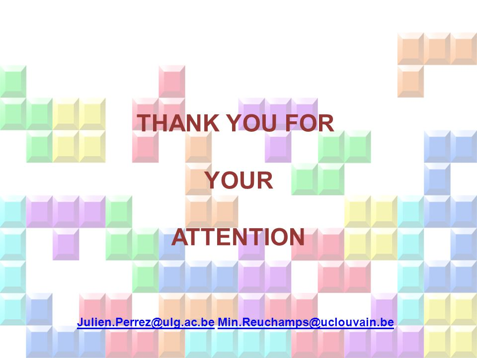 THANK YOU FOR YOUR ATTENTION Julien.Perrez@ulg.ac.be Min.Reuchamps@uclouvain.be Julien.Perrez@ulg.ac.beMin.Reuchamps@uclouvain.be