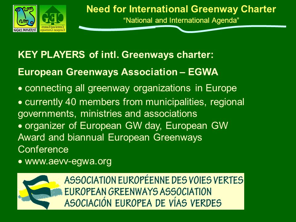 "Need for International Greenway Charter ""National and International Agenda"" European Greenways Association – EGWA  connecting all greenway organizat"