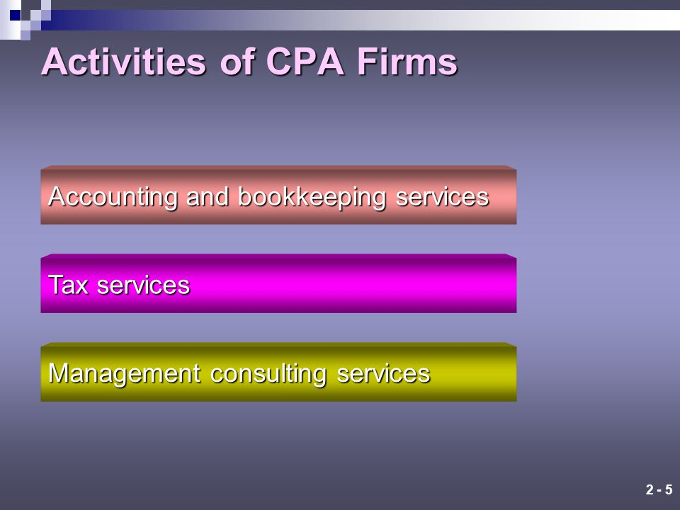 2 - 4 Certified Public Accounting Firms The four largest CPA firms in the United States are called the Big Four international CPA firms.