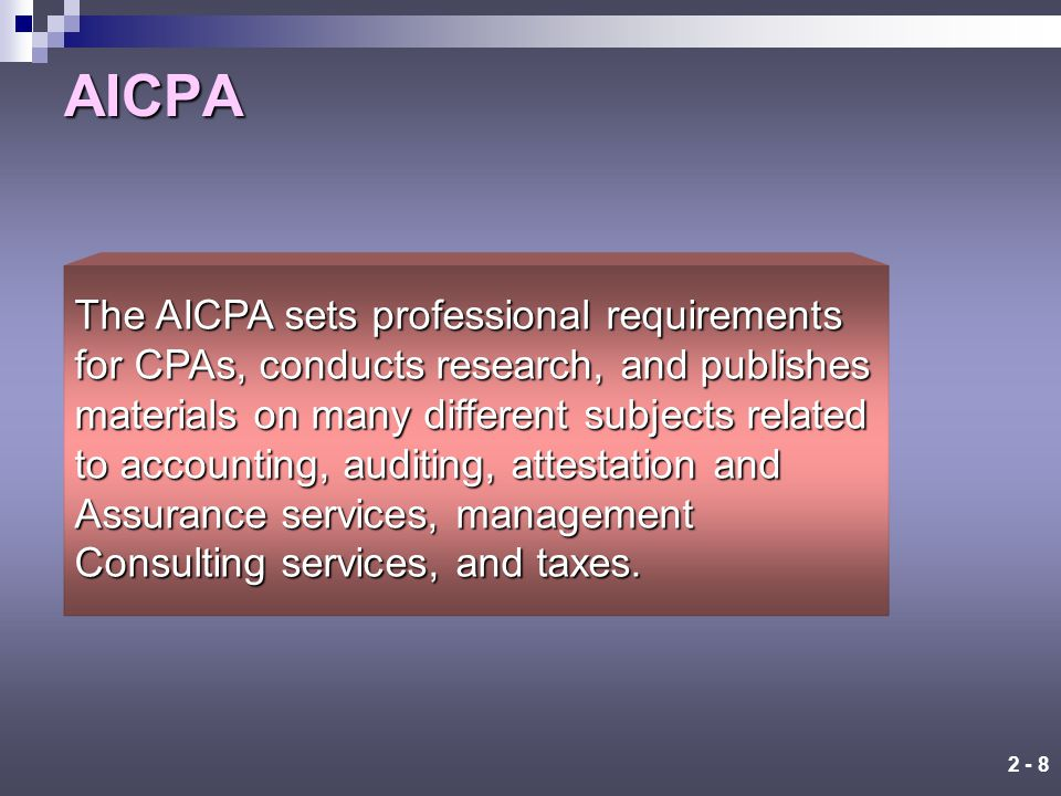 2 - 7 Hierarchy of a Typical CPA Firm Staff Level Experience Typical Responsibilities Manager 5-10 years Helps the plan, manages the audit, reviews work, and works with the client Partner 10+ years Reviews audit work and makes significant audit decisions