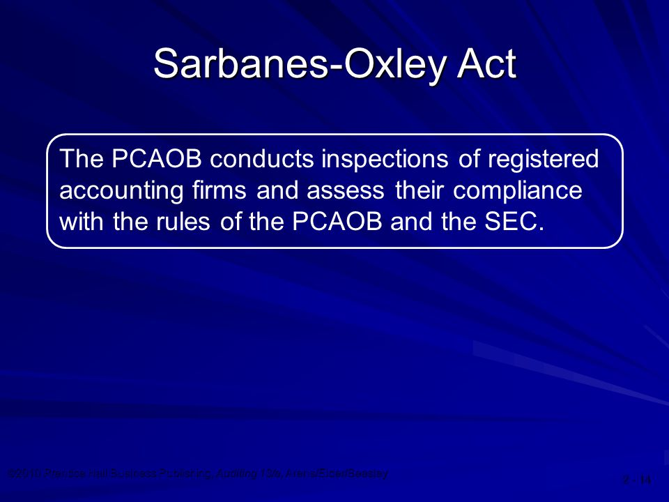 ©2010 Prentice Hall Business Publishing, Auditing 13/e, Arens/Elder/Beasley 2 - 14 Sarbanes-Oxley Act The PCAOB conducts inspections of registered acc