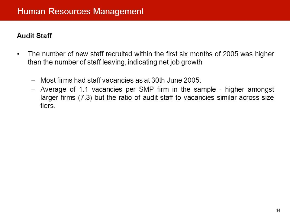 14 Human Resources Management Audit Staff The number of new staff recruited within the first six months of 2005 was higher than the number of staff leaving, indicating net job growth –Most firms had staff vacancies as at 30th June 2005.