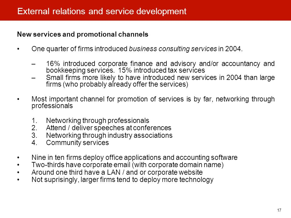 17 External relations and service development New services and promotional channels One quarter of firms introduced business consulting services in 2004.