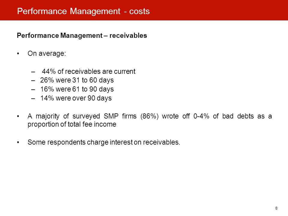 8 Performance Management - costs Performance Management – receivables On average: – 44% of receivables are current –26% were 31 to 60 days –16% were 61 to 90 days –14% were over 90 days A majority of surveyed SMP firms (86%) wrote off 0-4% of bad debts as a proportion of total fee income Some respondents charge interest on receivables.