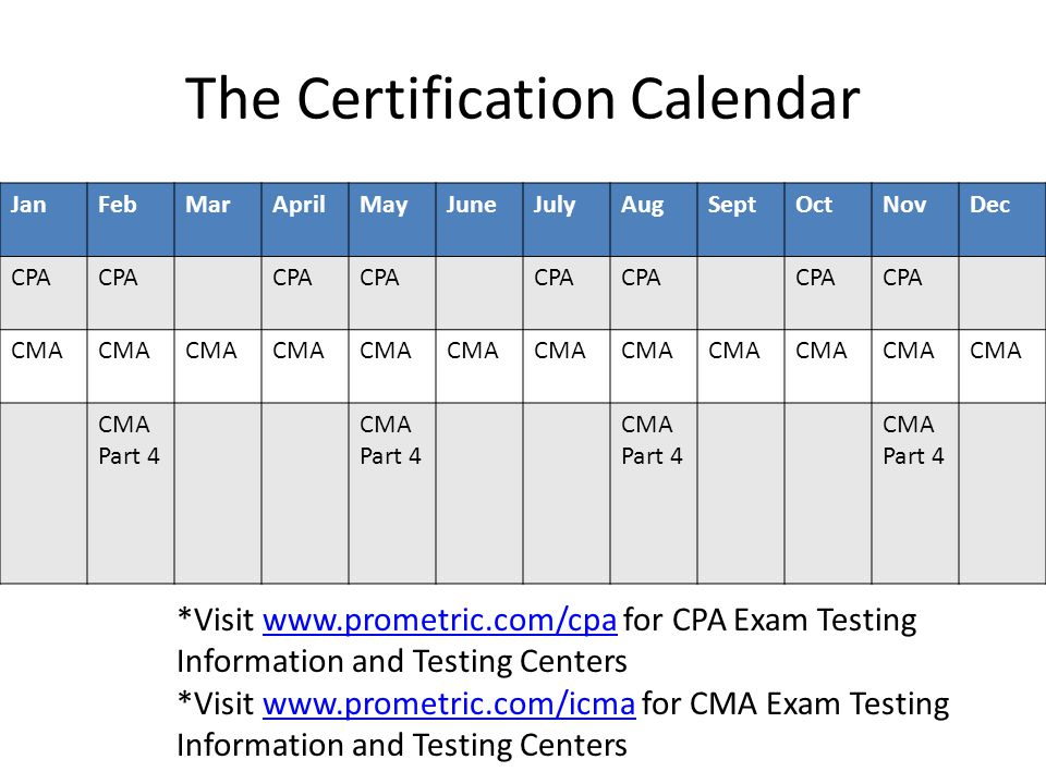 The Certification Calendar JanFebMarAprilMayJuneJulyAugSeptOctNovDec CPA CMA CMA Part 4 *Visit www.prometric.com/cpa for CPA Exam Testing Information and Testing Centerswww.prometric.com/cpa *Visit www.prometric.com/icma for CMA Exam Testing Information and Testing Centerswww.prometric.com/icma