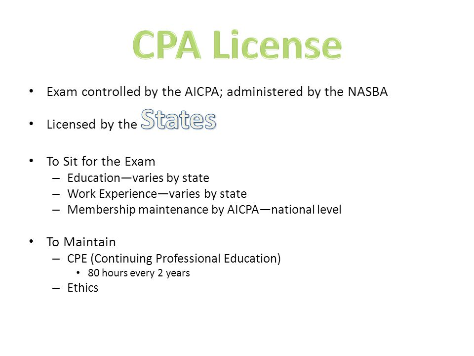 Do the following: – Complete your education requirement (BS degree) – Become a member of the IMA – Pass all four parts of the exam (skip one part if CPA) – Satisfy the experience requirement (two years) – Comply with the Standards of Ethical Conduct To Retain Certification: – Continuing education—30 hours per year – Maintain membership – Comply with the Standards of Ethical Conduct