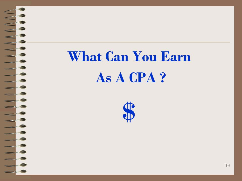 12 Where Do CPAs Work? Public Accounting Business & Industry Government Non-Profit Education Forensic Accounting Law Enforcement Financial Planning