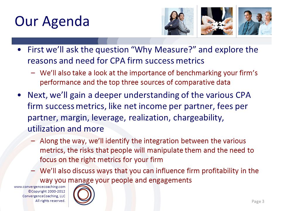 """www.convergencecoaching.com ©Copyright 2000-2012 ConvergenceCoaching, LLC All rights reserved. Our Agenda First we'll ask the question """"Why Measure?"""""""