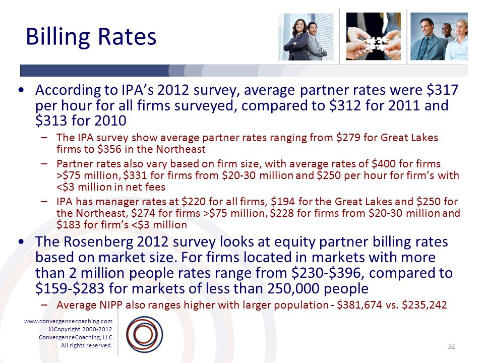 www.convergencecoaching.com ©Copyright 2000-2012 ConvergenceCoaching, LLC All rights reserved. Billing Rates According to IPA's 2012 survey, average p