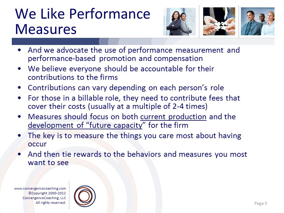 www.convergencecoaching.com ©Copyright 2000-2012 ConvergenceCoaching, LLC All rights reserved. We Like Performance Measures And we advocate the use of