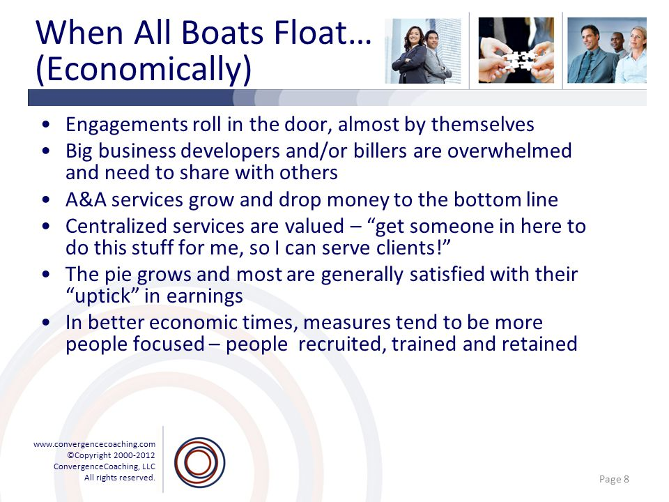 www.convergencecoaching.com ©Copyright 2000-2012 ConvergenceCoaching, LLC All rights reserved. When All Boats Float… (Economically) Engagements roll i