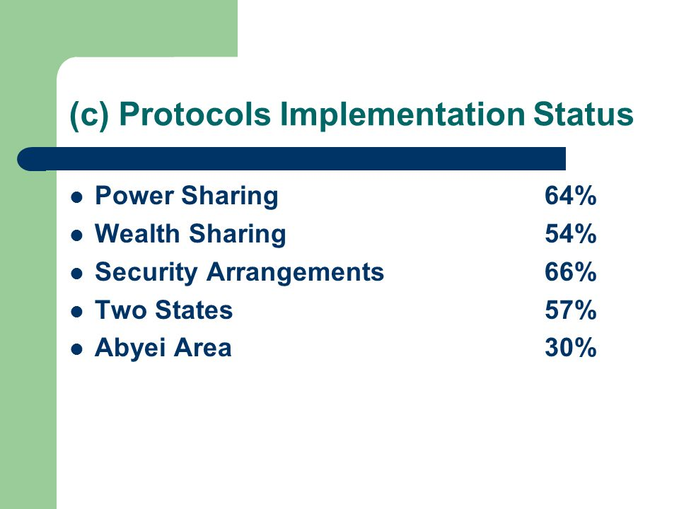 (c) Protocols Implementation Status Power Sharing64% Wealth Sharing54% Security Arrangements66% Two States57% Abyei Area30%