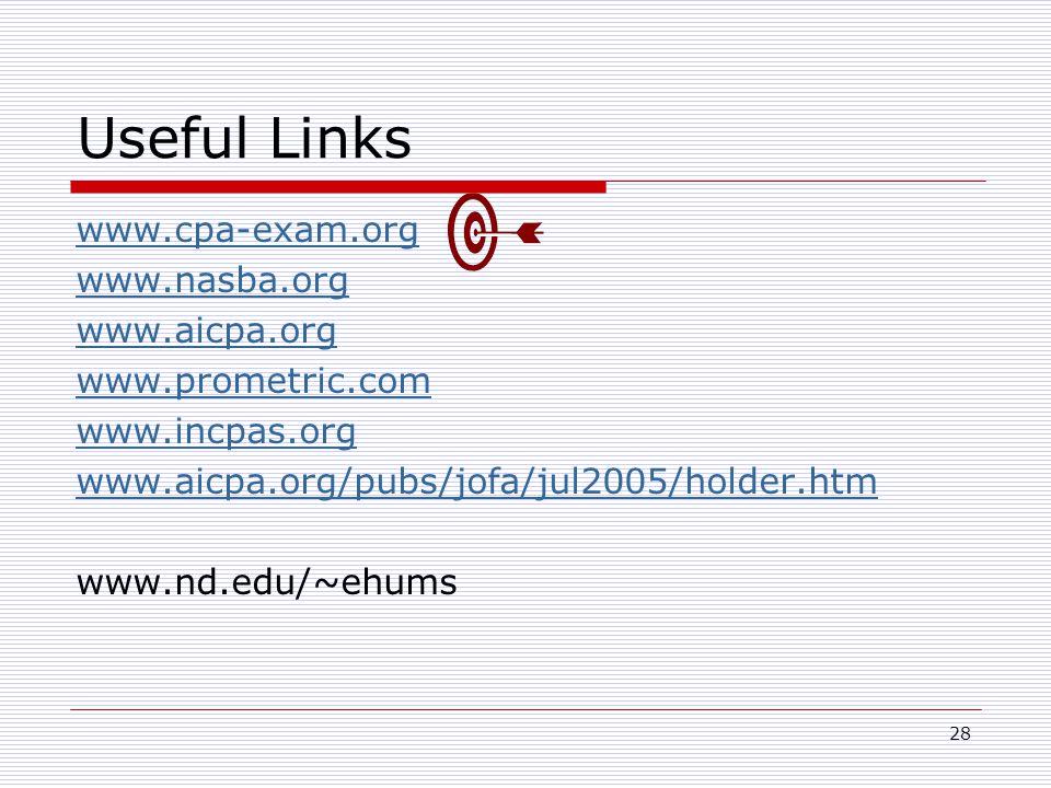28 Useful Links www.cpa-exam.org www.nasba.org www.aicpa.org www.prometric.com www.incpas.org www.aicpa.org/pubs/jofa/jul2005/holder.htm www.nd.edu/~ehums