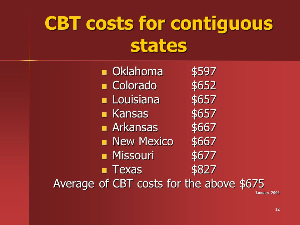 12 CBT costs for contiguous states Oklahoma$597 Oklahoma$597 Colorado$652 Colorado$652 Louisiana$657 Louisiana$657 Kansas$657 Kansas$657 Arkansas$667 Arkansas$667 New Mexico$667 New Mexico$667 Missouri$677 Missouri$677 Texas$827 Texas$827 Average of CBT costs for the above $675 January 2006