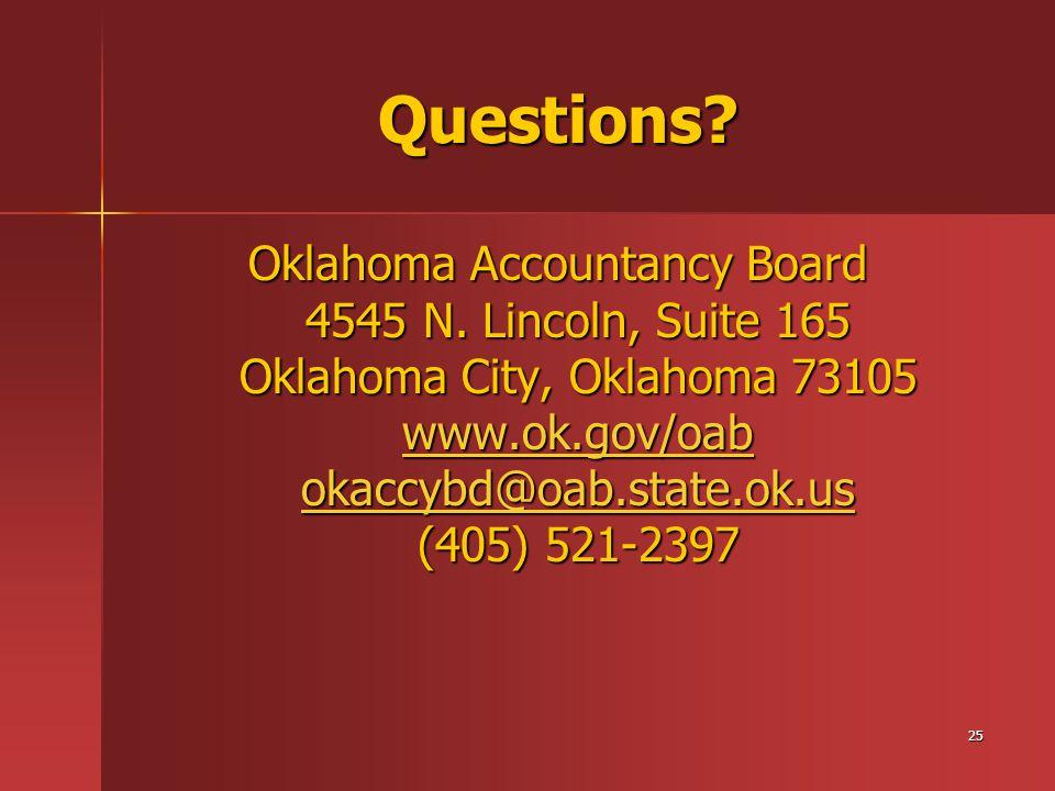 25 Questions. Oklahoma Accountancy Board 4545 N.