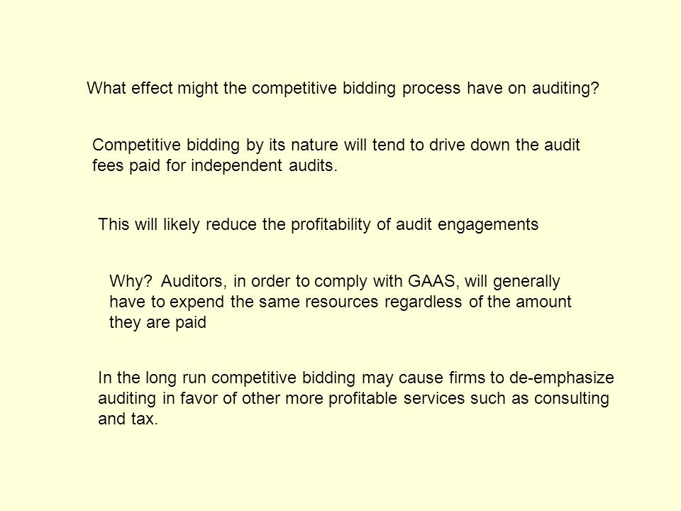 What effect might the competitive bidding process have on auditing.