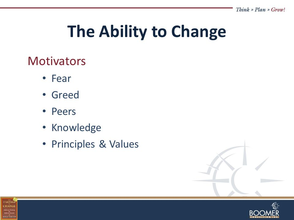 The Ability to Change Motivators Fear Greed Peers Knowledge Principles & Values