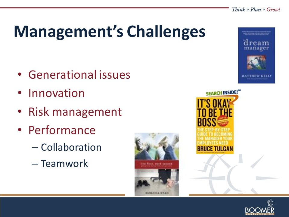 Management's Challenges Generational issues Innovation Risk management Performance – Collaboration – Teamwork