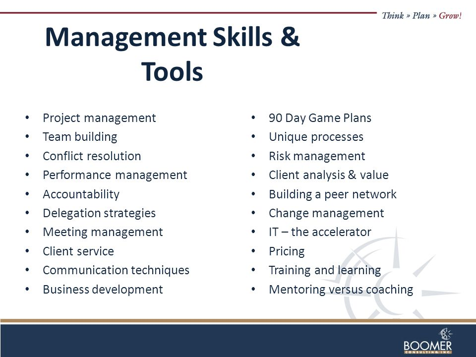 Management Skills & Tools Project management Team building Conflict resolution Performance management Accountability Delegation strategies Meeting management Client service Communication techniques Business development 90 Day Game Plans Unique processes Risk management Client analysis & value Building a peer network Change management IT – the accelerator Pricing Training and learning Mentoring versus coaching