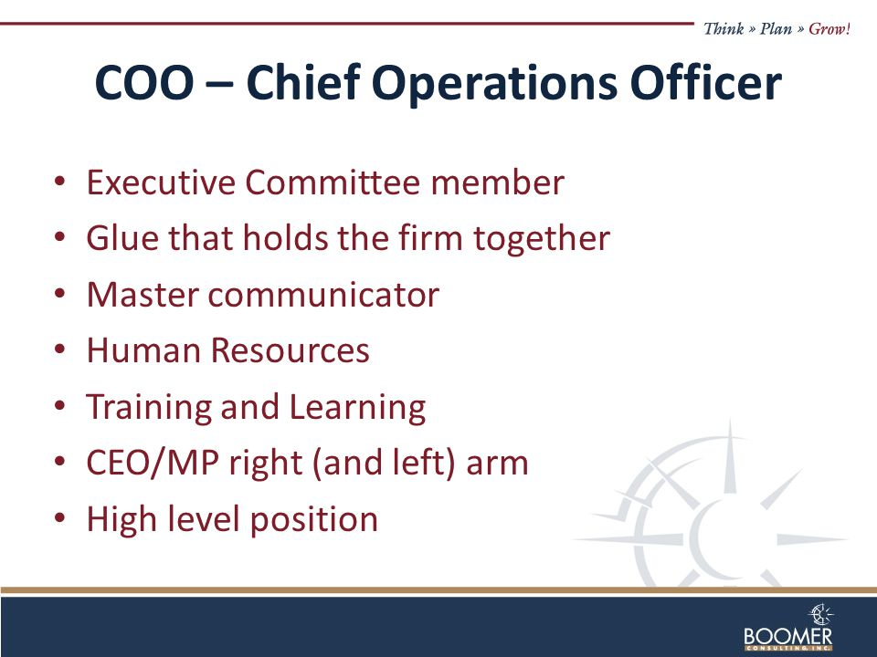 COO – Chief Operations Officer Executive Committee member Glue that holds the firm together Master communicator Human Resources Training and Learning CEO/MP right (and left) arm High level position